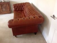 Chesterfield 3 seater leather sofa