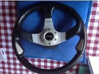 Momo Leather Snap off quick release Steering Wheel