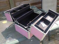 Pink metal beauty case