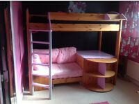 Hi sleeper bed with storage, desk and pull out bed below
