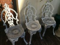 3 cast aluminium garden chairs