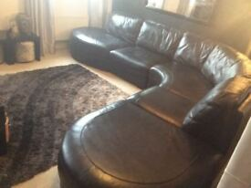 Beautiful large black leather corner sofa 10ft by 10ft original cost £3500 from DFS