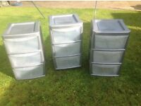Plastic Drawers. (Set of 3) - 3 Drawers each.
