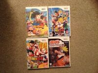 4 wii games 3dragon ball Z and 1 Naruto
