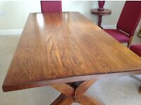 solid oak refectory table and six high back chairs