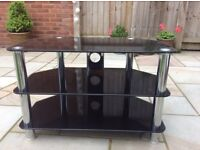 TV Unit stand - Black Glass with Silver legs