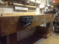 Heavy workbench with two vices attached