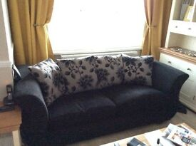3 seater black sofa