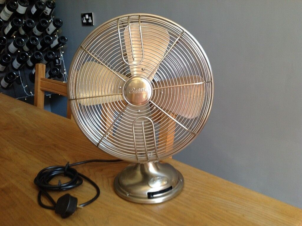 Retro Table Fan By Hunter Usa Century 90023 In Brushed Nickle