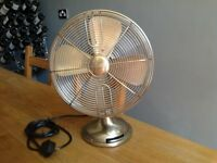 Retro Style Table Fan by Hunter USA. Century 90023 in Brushed Nickle