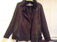 NEXT Leather Biker Jacket Size 14