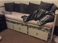 Ikea double pull out day bed with twin foam mattresses,