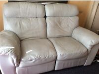 Cream 2 seater leather recliner sofa