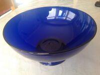 Deep blue glass bowl