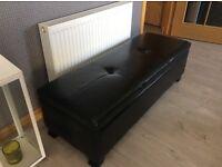 Black Faux Leather Ottoman Storage Seat/Pouffe