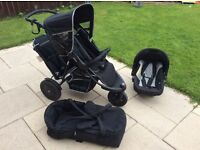 Hauck freerider shop n drive travel system, double buggy with car seat and carry cot attachments