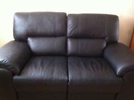 Two Seater Black Leather Electric Recliner