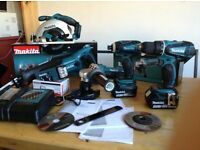 new makita 18v lxt complete set: skill saw+recip saw+grinder+combidrill+impact+lamp+2x4ah+charger