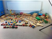 Brio type train set - trains, stations, track & extras. Over 200 pieces!