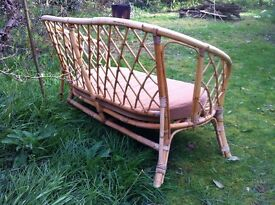 Vintage Bohemian Cane Wicker Sofa Settee Love Chair / Can Deliver