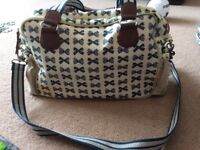 Navy bow yummy mummy changing bag