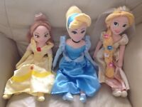 "3x Disney Princess 20"" plush soft doll toy"