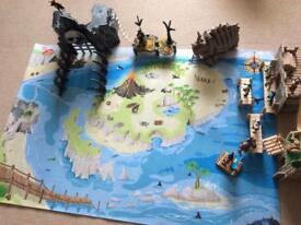 ELC Pirate Skull Island, Pirate figures, Le Toy Van Pirate play mat and other accessories shown