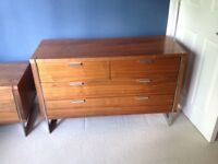 Gorgeous contemporary chrome and wood sideboard/ tv unit and side drawers