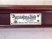 Full size antique mahogany snooker table by burrough & watts of london