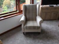 Cream check armchair