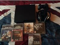 Sony PS3 with games and turtle beach headset