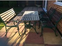 Garden table two chairs one bench seat cast iron legs fair con just needs coat paint