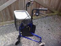 Lightweight 3 wheeled walker