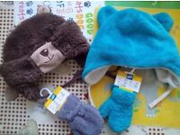 2x new mittens and 2x hats winter for boy 9-12 months