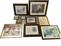bulk lot of 10 vintage framed prints & mirror