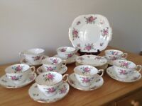 1930s Crown bone china: 8 cups, saucers & plates + sandwich plate all in mint condition .