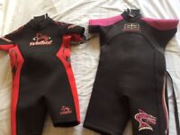 Children's wetsuits, cover ages 3 to 6, almost unused