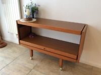 WOODEN SIDE TABLE WITH FOLD OUT LEAF ADJUSTABLE DINING SIDEBOARD
