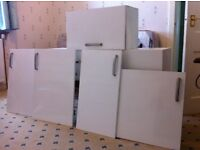 Kitchen wall units, unit doors, extractor fan and sink