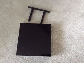small square shelves with hidden tubular brackets and high gloss black finish x 4