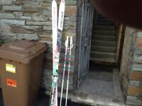 Skis poles and bag