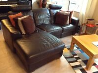 3 seater leather sofa with recliner for sale