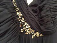 Navy designer Bridesmaid/prom dress with diamanté detail size 10