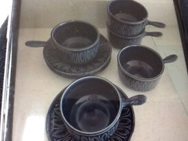 Retro soup bowls and saucers