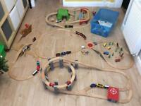 Wooden train play sets