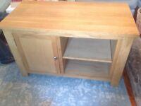 Oak tv unit with side cupboard