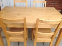 Pine table, with four chairs