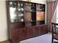 Mahogany Wall Unit with Lighting, good condition