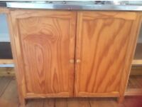 Two pairs of honey coloured pine cupboard doors +hinges