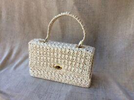"Attractive cream coloured ""raffia"" summer handbag by Hertford handbag company"